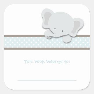 Pequeños Bookplates del elefante el   {azul} Pegatina Cuadrada