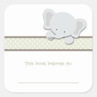 Pequeños Bookplates del elefante {verde} el   Pegatina Cuadrada