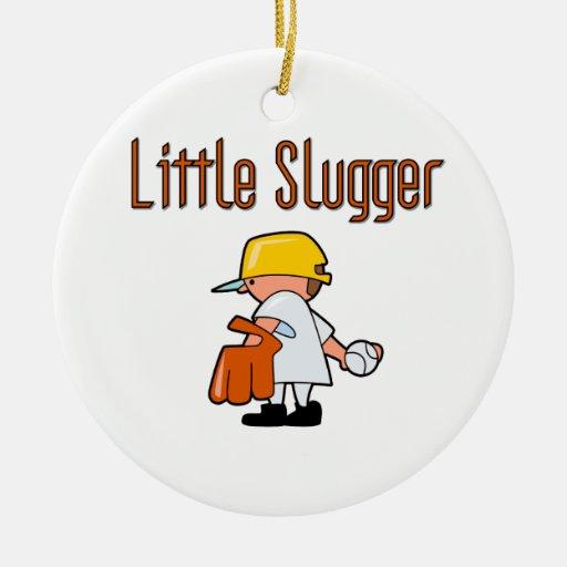 Pequeños camisetas y regalos del béisbol del adorno navideño redondo de cerámica