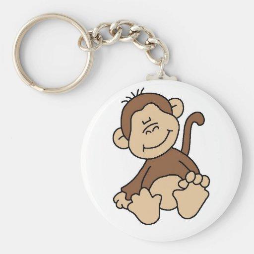 Pequeños camisetas y regalos del mono de Brown Llavero