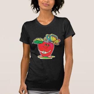 pequeños carácter y mariposa dulces de la manzana camisetas