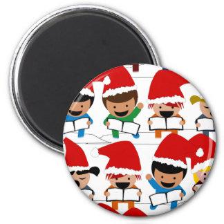 Pequeños Carolers del navidad Imán Redondo 5 Cm