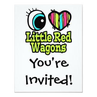 Pequeños carros rojos del ojo del amor brillante invitación 10,8 x 13,9 cm