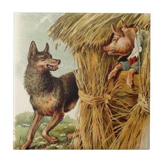 Pequeños cerdos del vintage tres; Malos lobo y cer Tejas Ceramicas