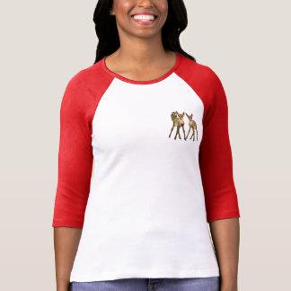 Pequeños cervatillos y búho florales del trullo camiseta