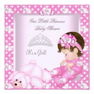 """Pequeños conejitos del rosa del chica de la invitación 5.25"""" x 5.25"""""""