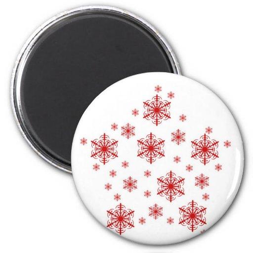 Pequeños copos de nieve en rojo imán para frigorifico
