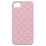 Pequeños corazones blancos en rosa iPhone 5 coberturas