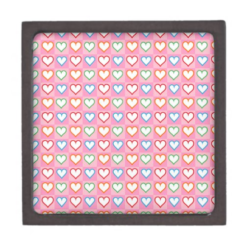 Pequeños corazones en rosa caja de recuerdo de calidad