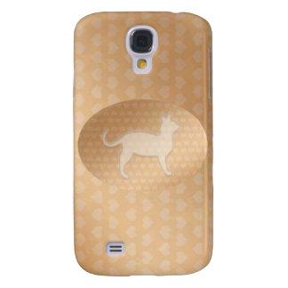 Pequeños corazones minúsculos y gato blanco de Pus Funda Para Galaxy S4