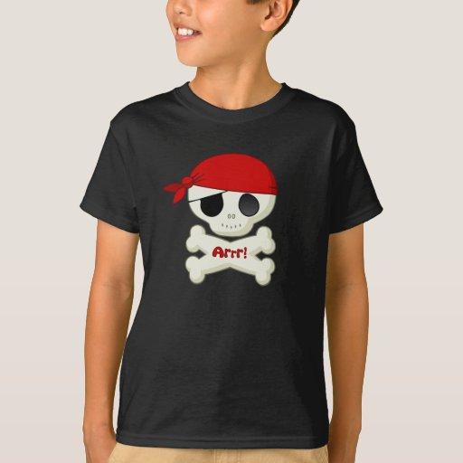 Pequeños cráneo del pirata y camiseta de la