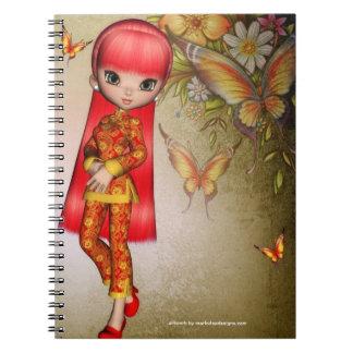 Pequeños cuadernos asiáticos del espiral de la fan