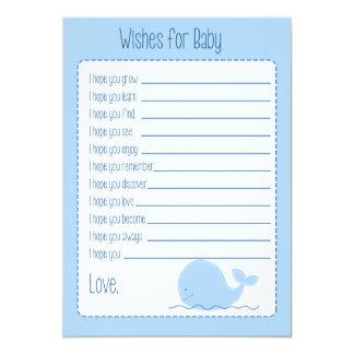 """Pequeños deseos de la ballena azul para la tarjeta invitación 5"""" x 7"""""""