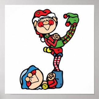 pequeños duendes divertidos del navidad posters
