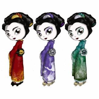 Pequeños geishas esculturas fotograficas