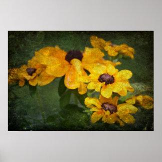 Pequeños girasoles amarillos poster