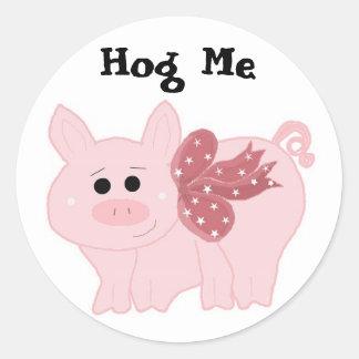 Pequeños guarros divertidos Hog me Pegatina Redonda