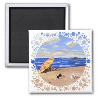 Pequeños juegos del escocés en la playa imán cuadrado
