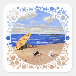 Pequeños juegos del escocés en la playa pegatina cuadrada