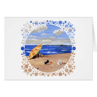 Pequeños juegos del escocés en la playa tarjeta de felicitación