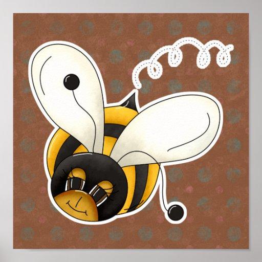 Pequeños lindos dulces manosean la abeja póster
