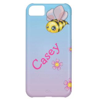 pequeños lindos manosean la abeja y las flores funda para iPhone 5C