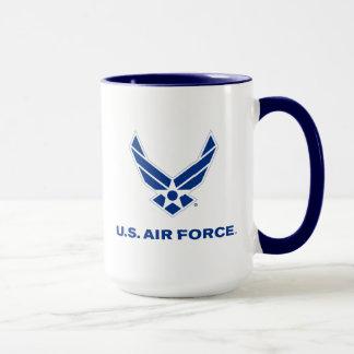 Pequeños logotipo y nombre azules de la fuerza