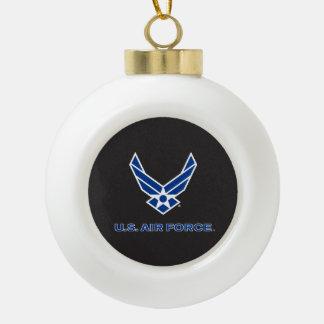 Pequeños logotipo y nombre azules de la fuerza adorno de cerámica en forma de bola