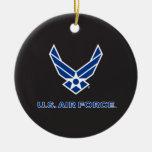 Pequeños logotipo y nombre azules de la fuerza adorno navideño redondo de cerámica