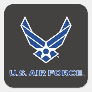 Pequeños logotipo y nombre azules de la fuerza pegatina cuadrada