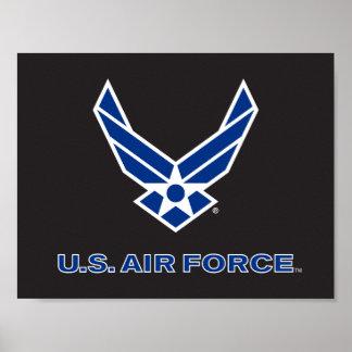 Pequeños logotipo y nombre azules de la fuerza póster