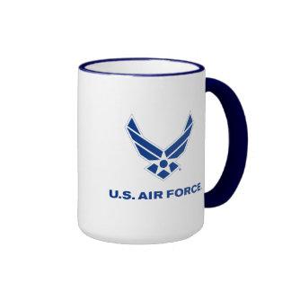 Pequeños logotipo y nombre azules de la fuerza taza a dos colores