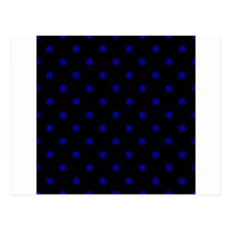 Pequeños lunares - azul marino en negro tarjeta postal