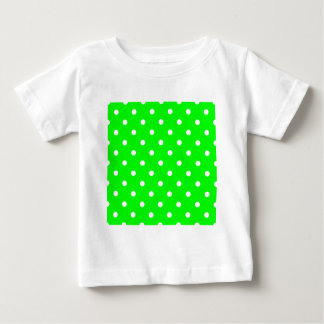 Pequeños lunares - blanco en verde eléctrico playera de bebé