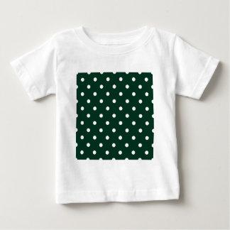 Pequeños lunares - blanco en verde oscuro playera de bebé