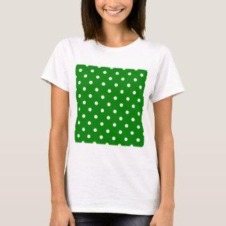 Pequeños lunares - blanco en verde playera