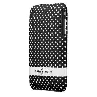 Pequeños lunares blancos en modelo negro carcasa para iPhone 3