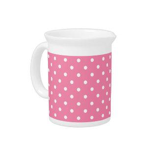 Pequeños lunares blancos en rosas fuertes jarras para bebida