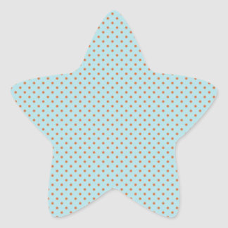 Pequeños lunares de Brown en fondo azul Pegatina En Forma De Estrella