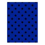 Pequeños lunares - negro en azul imperial postales
