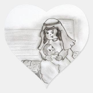 Pequeños Maria y bebé Jesús - bosquejo Pegatina Corazon Personalizadas