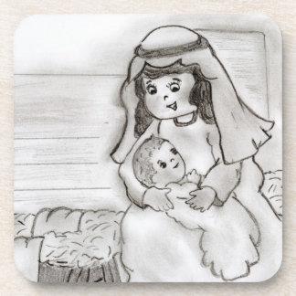 Pequeños Maria y bebé Jesús - bosquejo Posavasos De Bebidas