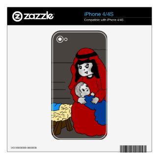 Pequeños Maria y bebé Jesús en rojo iPhone 4 Calcomanías