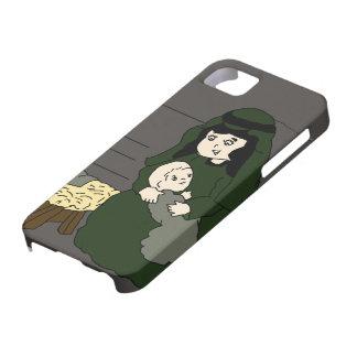Pequeños Maria y bebé Jesús en verde Funda Para iPhone SE/5/5s