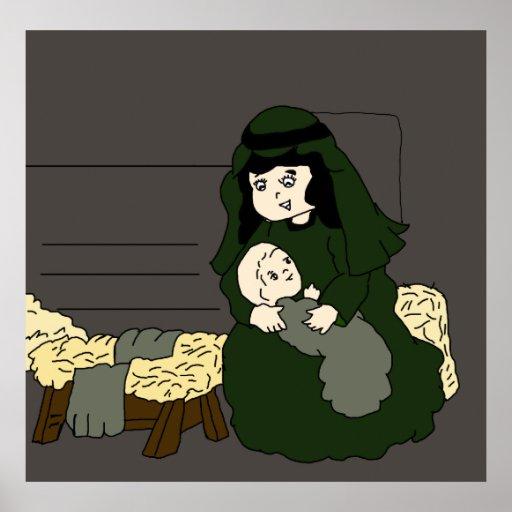 Pequeños Maria y bebé Jesús en verde Poster