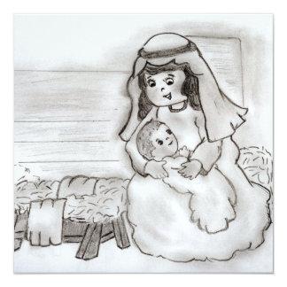 """Pequeños Maria y Jesús Invitación 5.25"""" X 5.25"""""""