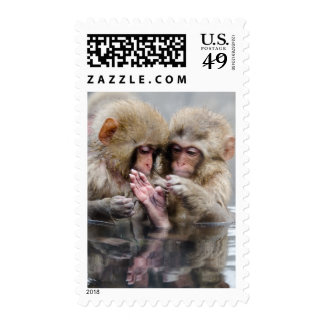 Pequeños monos en las aguas termales, Japón Timbre Postal