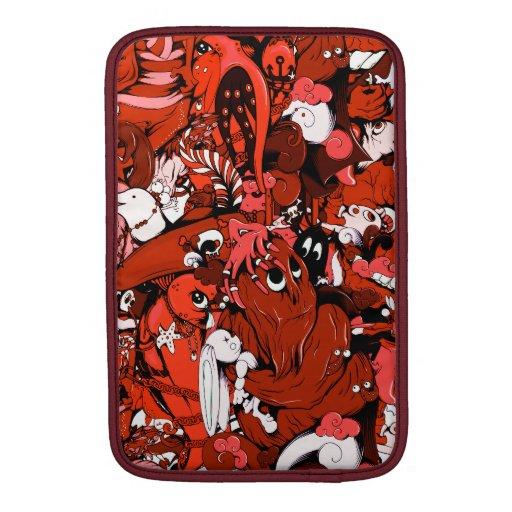 Pequeños monstruos frescos en rojo funda  MacBook