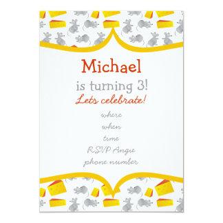 """pequeños mouses y queso con el marco amarillo invitación 5"""" x 7"""""""
