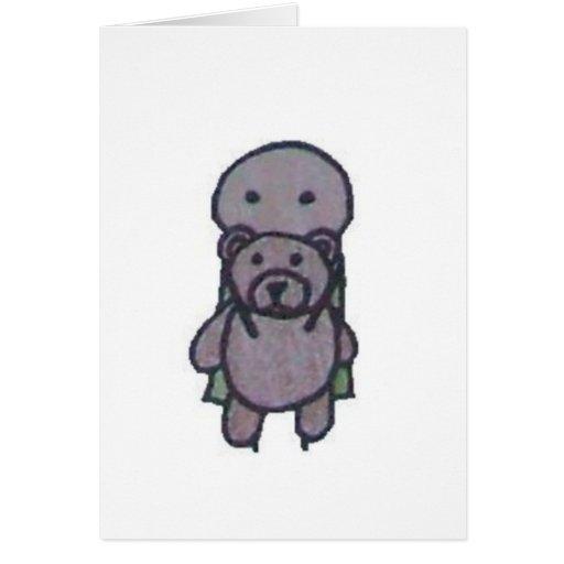 Pequeños notecards de un peluche tarjeta pequeña